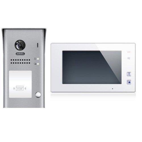 """Set videovrátný 1x zvonek a RFID čtečkou + 1x monitor TFT 7"""" s pamětí bílý, napájení, 2-drát"""