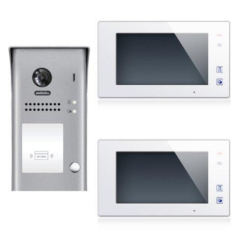 """Set videovrátný 1x zvonek a RFID čtečkou + 2x monitor TFT 7"""" s pamětí bílý, napájení, 2-drát"""