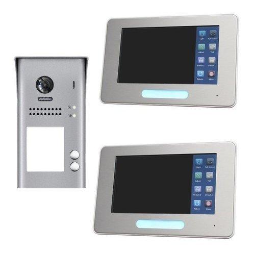 """Set videovrátný 2x zvonek + 2x monitor TFT 7"""" s pamětí stříbrný, napájení, 2-drát"""