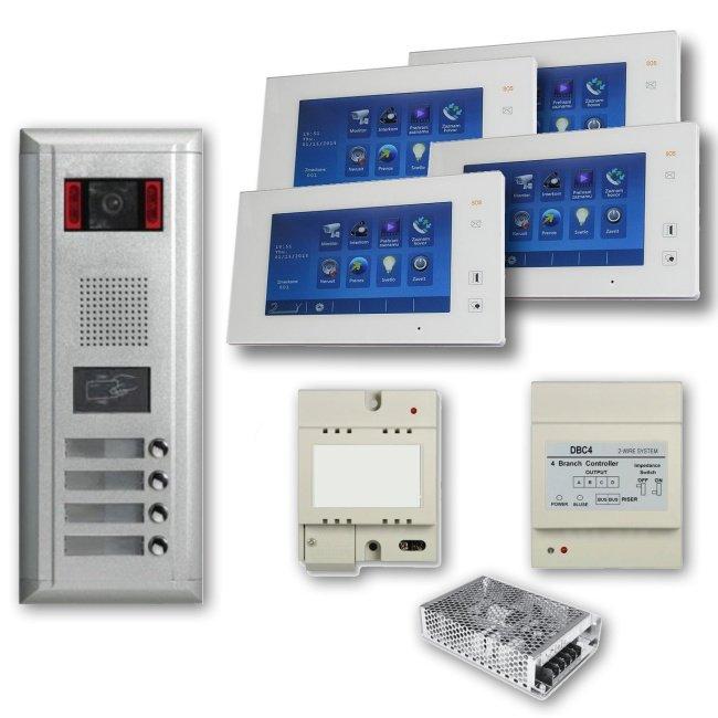 """Set videovrátný 4x zvonek s RFID čtečkou + 4x monitor TFT 7"""" s pamětí, napájení, rozbočovač, 2-drát"""