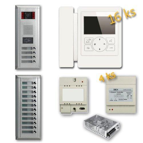 """Set videovrátný 16x zvonek s RFID čtečkou + 16x monitor TFT 4"""", napájení, rozbočovače, 2-drát"""