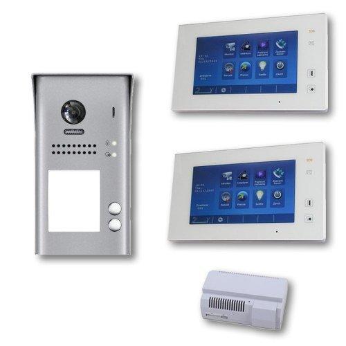 """Set videovrátný 2x zvonek + 2x monitor TFT 7"""" s pamětí bílý, napájení, 2-drát"""