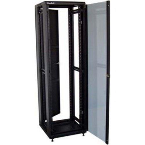47U/800x1200 stojanový, černý, skleněné dveře, plná záda