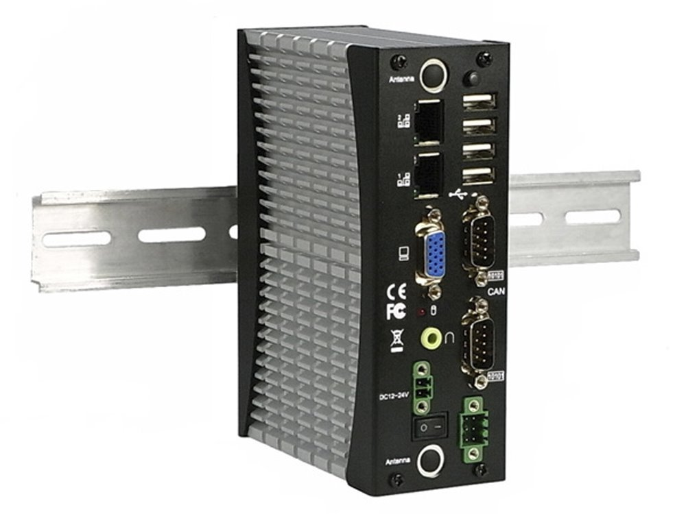 DIN-rail PC, Atom N2600/1,6GHz,2GB DDR3, 2xLAN, 4xUSB, 2xCOM, 2xGPIO, VGA, audio, fanless, TDP 3,5W