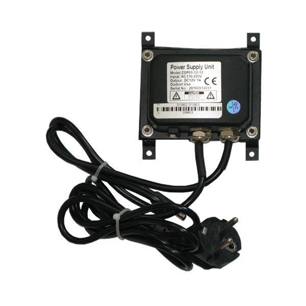 Vodotěsný zdroj 100-240V AC, výstup 12V/1A DC, IP66, včetně úchytu na stěnu