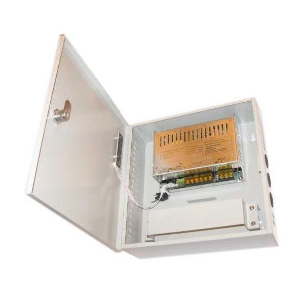 Zdroj, 12V DC, 2 porty, 10A celkem, 120W,skříňka, zálohovatelný baterií, relé port