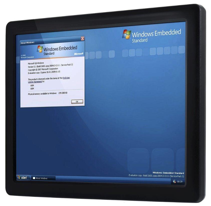 "15"" touch panelPC, Vortex 1GHz x86DX3, 2GB RAM,3x USB,1xLAN,2xCOM, audio, slot uSD a CF, 24V"
