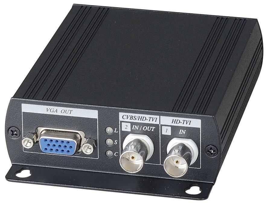 Převodník AHD/TVI/CVI/CVBS na HDMI/VGA/CVBS, do 1920x1080, 1x smyčkový výstup, 2x BNC