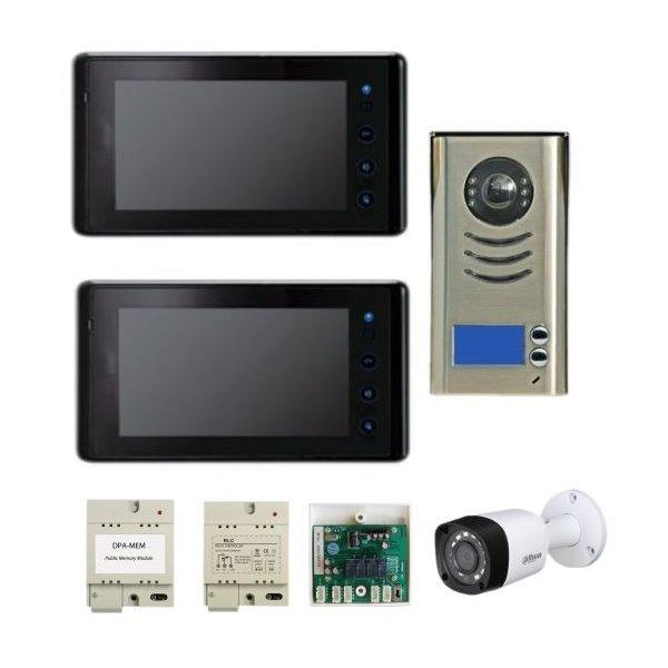Sestava dveřní stanice 2x zvonky + 2x monitor,moduly: paměť/relé/CCTV/napájení, CCTV kamera, 4-drát