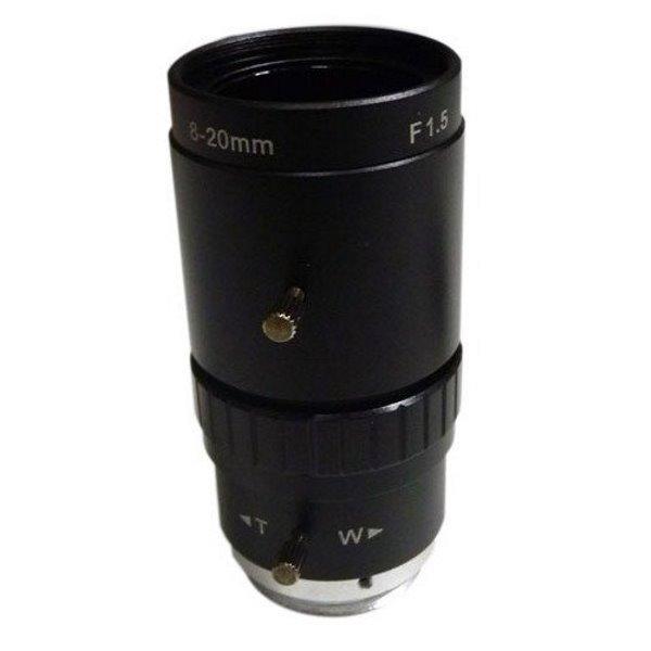 "Objektiv 1/1.8"",Vari-focal, 8-20mm, C-mount,nastavitelná clona F1,5-16; do 2Mpx"