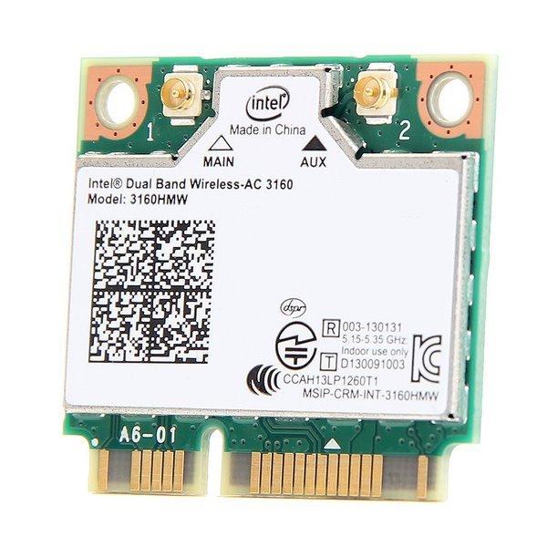MiniPC-E Intel AC3160 WiFi 802.11b/g/n/ac 2,4GHz + 5GHz  +  Bluetooth 4.0 miniPCI-E karta