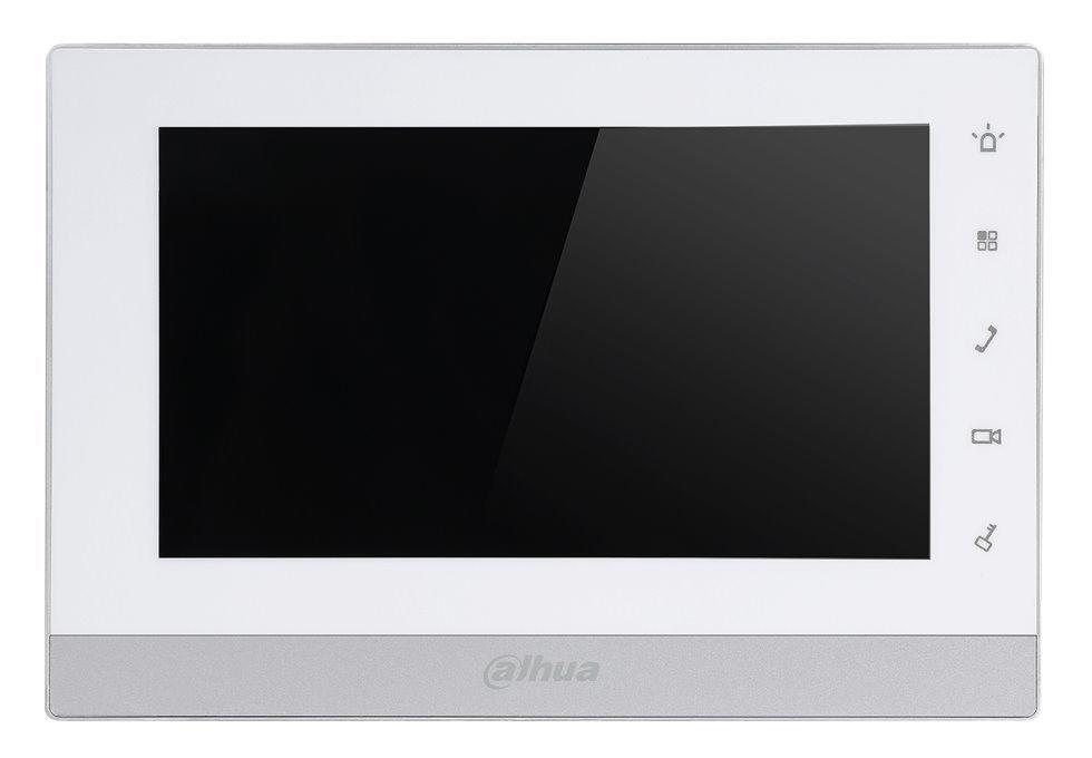 """Bytový monitor IP, dotykový 7"""" 800x480, PoE, paměť, připojení IP kamer, alarm out, bílo-stříbrný, CZ"""