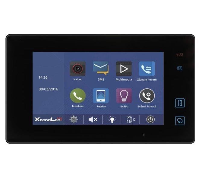 """Bytový monitor D2, barevné TFT 7"""", dotyk. obrazovka+tlačítka, paměť, 2-drát, tenký, černý , CZ"""