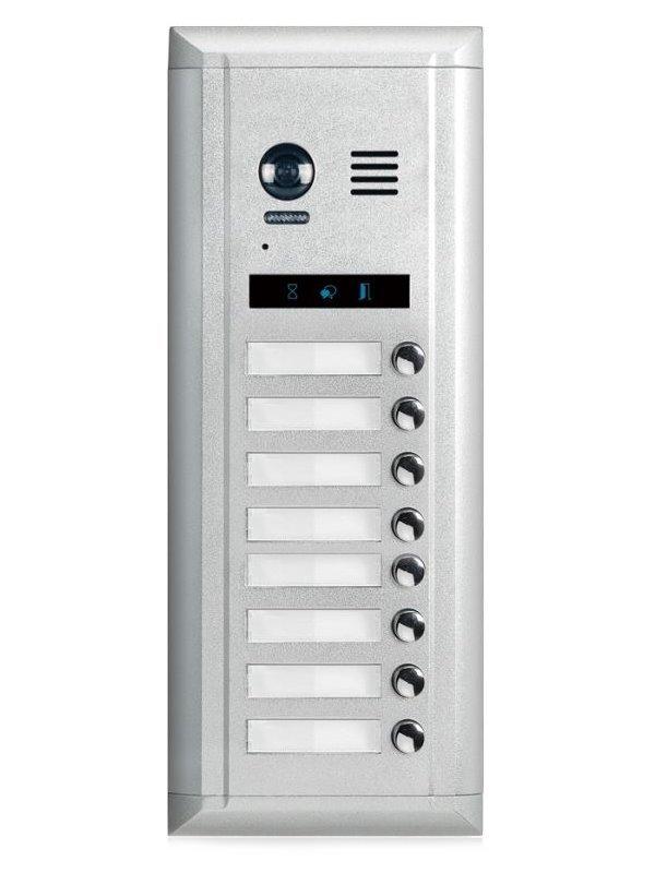 """Dveřní stanice pro D2, 8x zvonek, CCD 1/3"""", nerez ocel, 2-drát, IP45, 1-zámek"""
