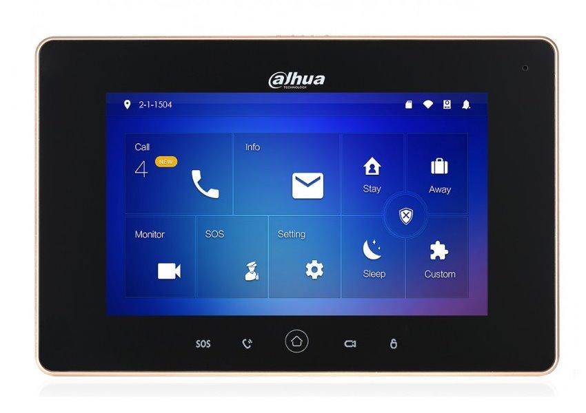 """Bytový monitor IP WiFi, dotykový 7"""" 1024x600,12VDC/PoE 802.3af, paměť, alarm porty, černý, CZ menu, kamera 1Mpix 125st"""