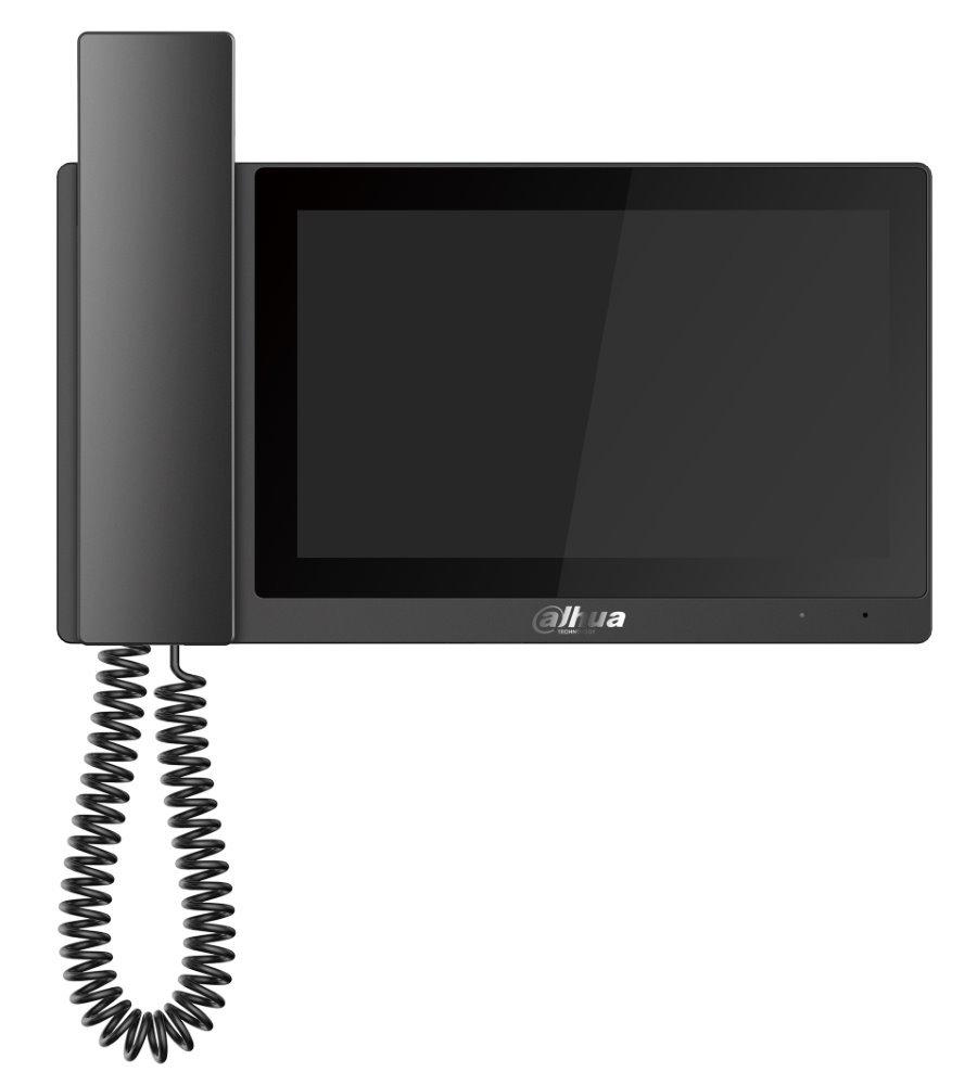 "Bytový monitor IP, dotykový 7"" 1024x600, 12VDC/PoE 802.3af, paměť, alarm porty, černý, CZ menu"