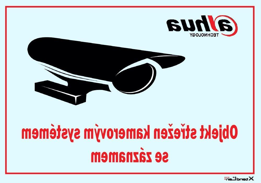 Bezpečnostní tabulka pro kamerové systémy, transparentní, zrcadlový tisk, 105x74mm, logo Dahua