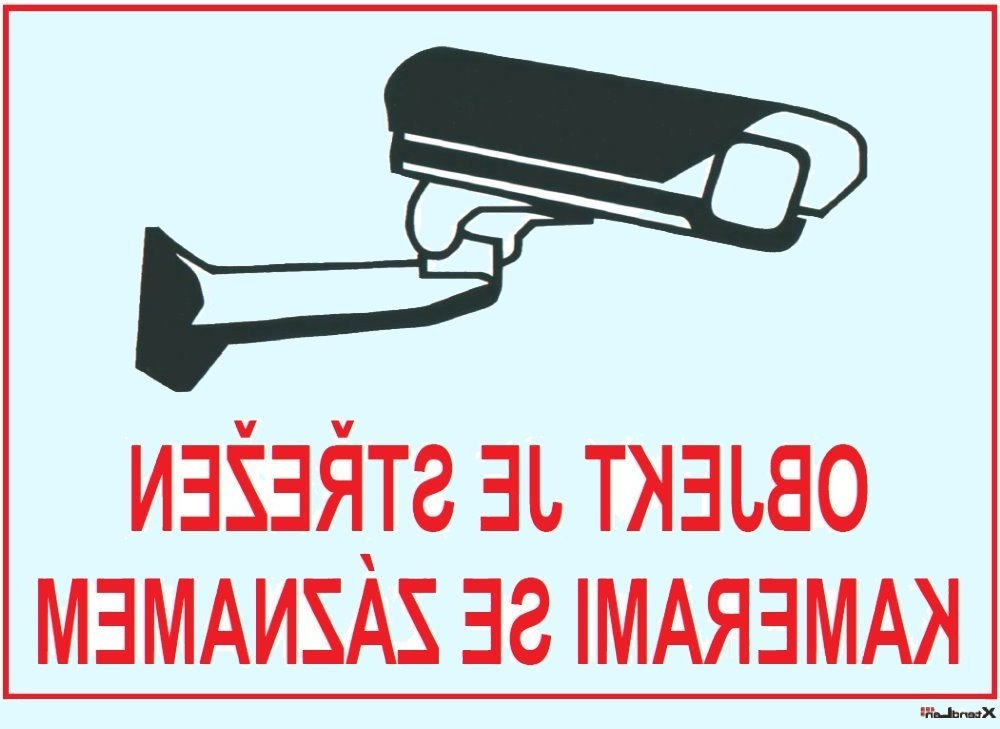 Bezpečnostní tabulka pro kamerové systémy, transparentní, zrcadlový tisk, 210x150mm, logo Dahua