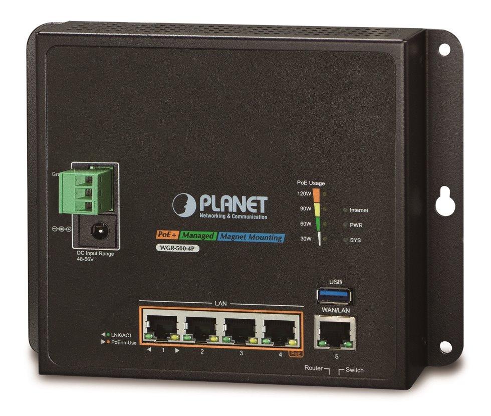 Planet WGR-500-4P, průmyslový PoE router, 1xWAN 1Gbps, 4xLan 1Gbps, PoE 802.3at do 120W, -10 až 60°C