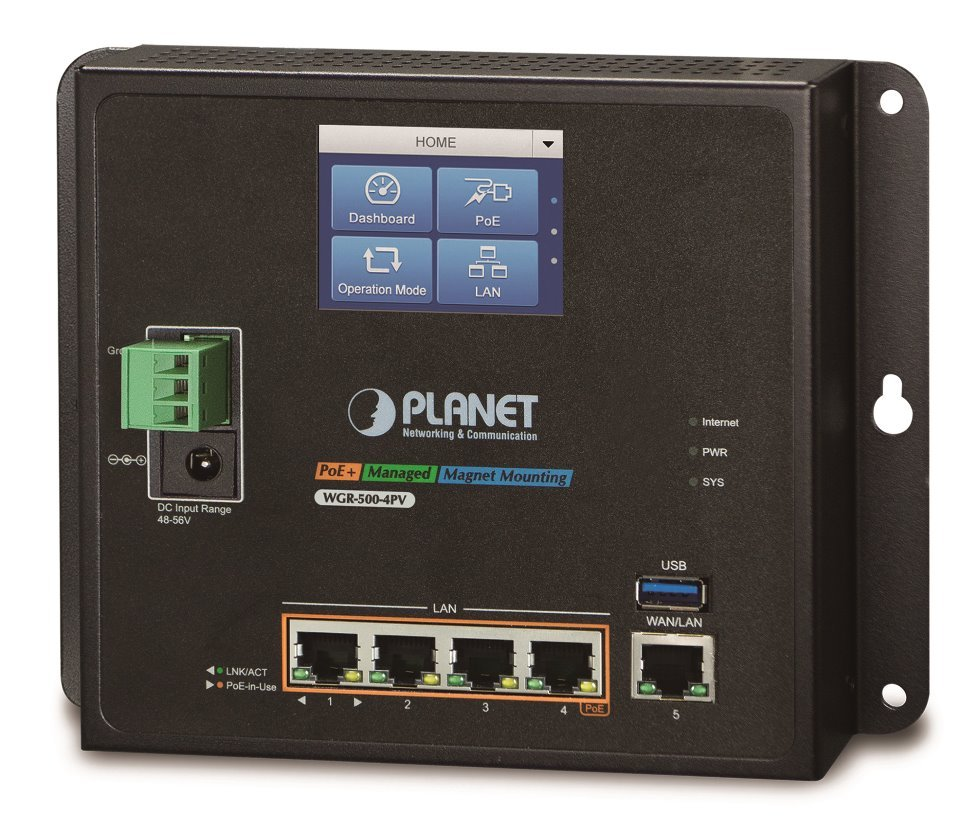Planet WGR-500-4PV, průmyslový PoE router, 1xWAN 1Gbps, 4xLan 1Gbps, PoE 802.3at do 120W, -10 až 60°C, touch LCD