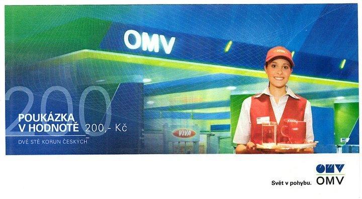 Poukázka OMV v hodnotě 200 Kč - sleva 199 Kč