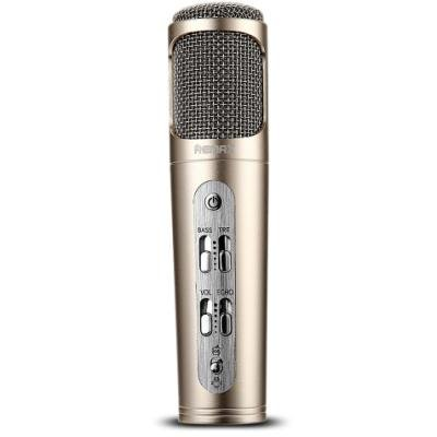 REMAX mikrofon / RM-K02 / 440mAh baterie / pro Android i iOS / provoz až 6-8 hod. / zlatý