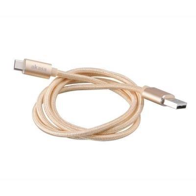 OPRAVENÉ - AKASA kabel USB2.0 Typ-A na Typ-C / AK-CBUB34-10GL / 100cm / zlatý /