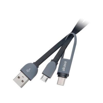 Kabel Akasa USB na USB-C a micro USB 1 m černý