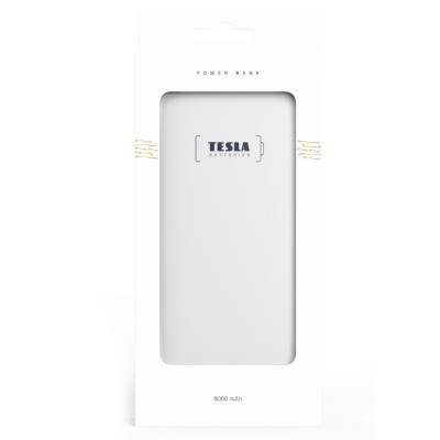 TESLA Power bank 8.000 GOLD/ 8000mAh/ micro USB kabel 5V/2,1A/ USB výstup 5V/2,1A/ Lightning adaptér/ Li-pol/ bílá