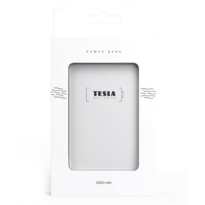 TESLA Power bank 2.000 BLUE/ 2000mAh/ micro USB kabel 5V/2,1A/ USB výstup 5V/2,1A/ Lightning adaptér/ Li-pol/ bílá
