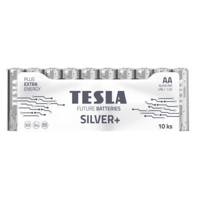 TESLA SILVER+ alkalická baterie AA (LR06, tužková, fólie) 10 ks