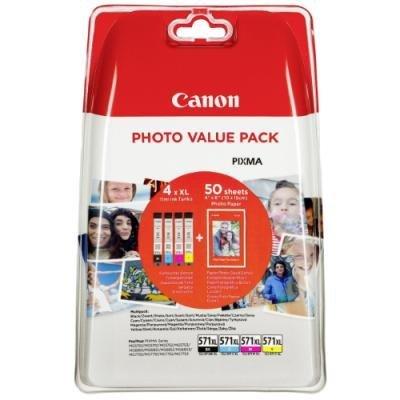 Inkoustová náplň Canon CLI-571XL CMYK + 50x PP-201