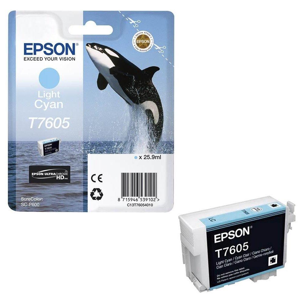 Inkoustová náplň Epson T7605 světlá modrá
