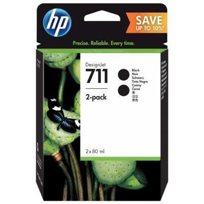 Inkoustová náplň HP 711 (P2V31A) dvojbalení černá