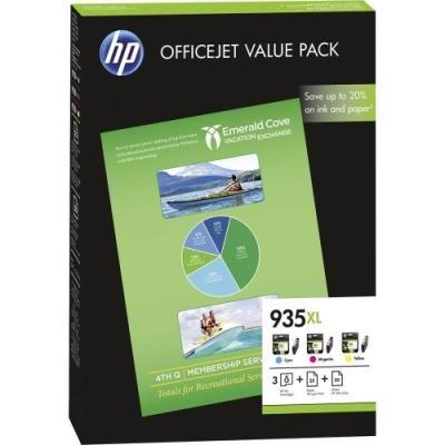 Inkoustová náplň HP 935XL (F6U78AE) CMY + papír