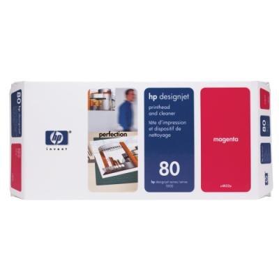 Tisková hlava HP 80 (C4822A) červená a čisticí