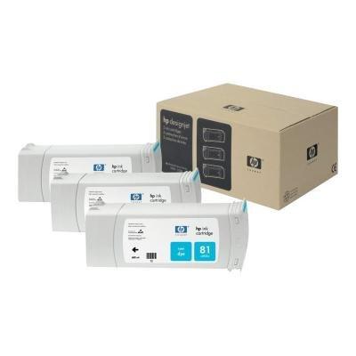 Inkoustová náplň HP 81 (C5067A) trojpack modrá