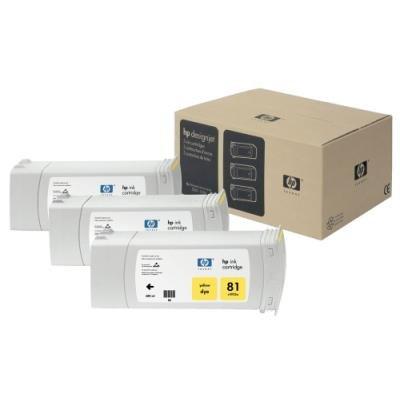 Inkoustová náplň HP 81 (C5069A) trojpack žlutá