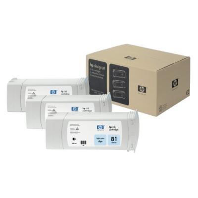 Inkoustová náplň HP 81 (C5070A) trojpack modrá