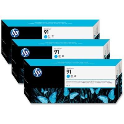 Inkoustová náplň HP 91 (C9483A) trojpack modrá
