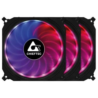 CHIEFTEC sada ventilátorů Tornado / 3x 120mm fan / RGB LED / RGB ovladač / Dálkové ovládání / ultratichý 16 dBa