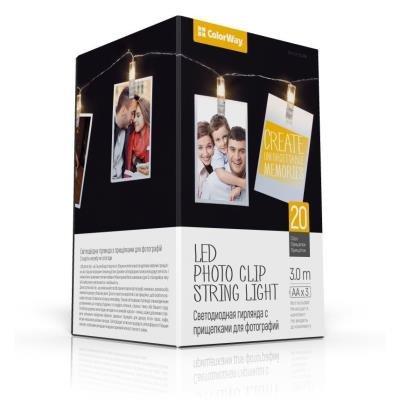 POŠKOZENÝ OBAL - COLORWAY LED fotokolíčky / 20 kolíčků / délka 3 m / napájení 3x AA