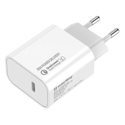ColorWay napájecí adaptér USB-C 20W bílý