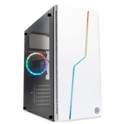 MICRONICS skříň L1 WHITE/ bez zdroje/ ATX/ 1x USB3.0/ 2x USB2.0/ 120mm ARGB fan/ temperované sklo/ bílá
