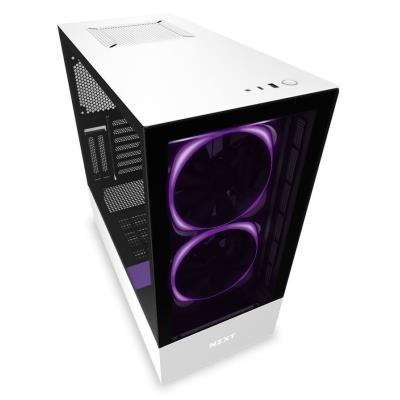 NZXT skříň H510 ELITE / ATX / průhledné čelo a bok / USB 3.0 / USB-C 3.1 / RGB LED / Smart case s intel. funkcemi/ bílá