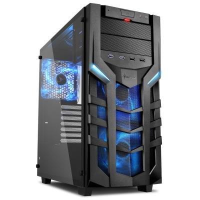 POŠKOZENÝ OBAL - Sharkoon skříň DG7000-G / Middle Tower / 2x USB3.0 / 2x USB2.0 / průhledná bočnice / modré LED / černá