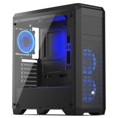 SilentiumPC skříň Regnum RG4T RGB Pure Black / celoskleněná bočnice/ čtečka SD / USB 3.0 / regulace otáček / černá