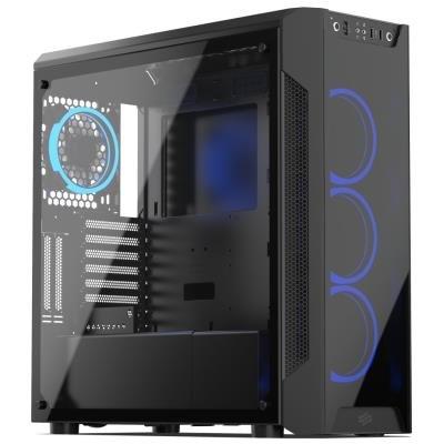SilentiumPC skříň MidT Armis AR7X TG RGB / 2x USB 3.0/ 4x 120mm fan/ čelo a bok z tvrzeného skla/ RGB podsvícení/ černá