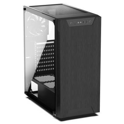 POŠKOZENÝ OBAL - SilentiumPC skříň MidT Armis AR5 TG / 2x USB 3.0/ 2x 120mm fan/ bok z tvrzeného skla/ černá