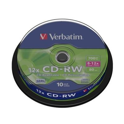 CD médium Verbatim CD-RW80 700MB 10ks